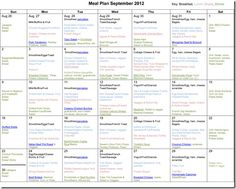Monthly Meal Planning September 2012