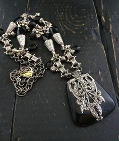 Antique Silver Black Onyx Necklace Art by KarenTylerDesigns