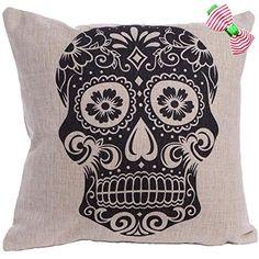 Caryko Home Decor Cotton Linen Square Pillowcase Skull Skeleton Printed Throw Pillow Cover (Skull-Black) Caryko http://www.amazon.com/dp/B00XRQQYZ4/ref=cm_sw_r_pi_dp_wO.vvb17QWZ99