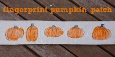 Fingerprint Pumpkins - I think I'll have my kids make these sitting under their q-tip painted autumn trees (also pinned to AUTUMN).  Those will be very nice Autumn pictures for them to make and hang in the schoolroom! ~April