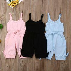 2019 ropa de verano para niños 1 6Y, para bebés, mono liso, pantalones sin mangas, monos, trajes, monos recortados    - AliExpress
