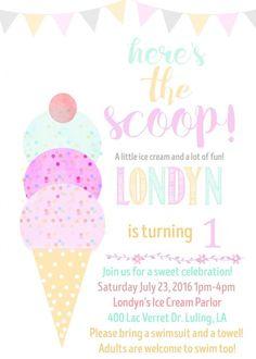Ice Cream Birthday invitation