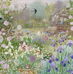 Pretty greetings card for any occasion illustrated with a gorgeous cottage garden in spring by Lucy Grossmith illustration, Garden Painting, Garden Art, Painting & Drawing, Garden Drawing, Fence Garden, Garden Beds, Art And Illustration, Naive Art, New Wall