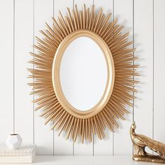 PB Teen Gold Sunburst Mirror at Pottery Barn Teen - Mirrors - Dorm... ($149) ❤ liked on Polyvore featuring home, home decor, mirrors, sun shaped mirror, dorm decor, gold home decor, gold sunburst mirror and gold home accessories