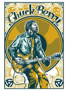 Chuck Berry All Hail Rock N Roll Art Print by brianyap Rock Posters, Band Posters, Film Posters, Music Covers, Album Covers, Art Hippie, Vintage Music Posters, Vintage Movies, Pochette Album