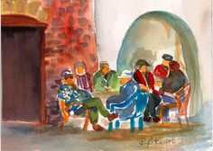 """This watercolor painting of mine just got chosen to be on the Christmas Card for 2012 sent out by the Pasadena Senior Center. I feel honored. I call it """"Laid Back and Lovin' It."""" They thought it looked like some of the people who hang out at the senior center in Pasadena. Funny! http://www.craftylady.com/"""