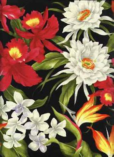 10hukilau Tropical Hibiscus, bird of paradise, & protea - cotton barkcloth fabric.Add Discount code: (Pin10) in comment box at check out for 10% off sub total at BarkclothHawaii.com