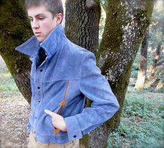 KILLER Vintage 1970s Blue Suede Leather Jacket // by JackpotJen