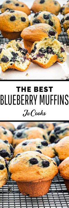 There's nothing like Blueberry Muffins fresh and hot out of the oven. Break one of these fluffy muffins in half, spread with soft butter, and enjoy. Brunch Recipes, Snack Recipes, Dessert Recipes, Cooking Recipes, Snacks, Muffin Recipes, Cake Recipes, Best Blueberry Muffins, Blue Berry Muffins
