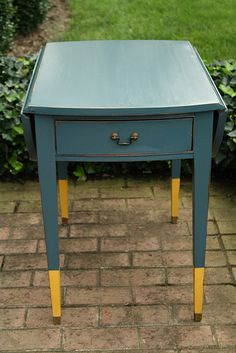 Dipped Legs  Teal Table by Cassie.  I can't wait to go thrift shopping.