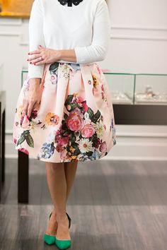 white shirt + black collar + floral skirt