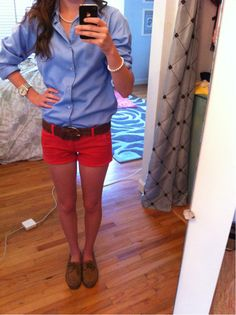 Blue Collared Shirt with Sperrys and Red Shorts- didnt think the red shorts would look good with denim button down i was wrong