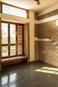 Strategically placed windows with wooden louvers ensures cross ventilation and adequate day light Indian Window Design, Wooden Window Design, House Window Design, Indian Home Design, Village House Design, Indian Home Interior, Kerala House Design, Bungalow House Design, House Front Design