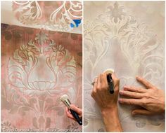 Learn how to create a beautiful & elegant stenciled texture wall finish that replicates the look of faded damask fabric with this step by step stencil tutorial.