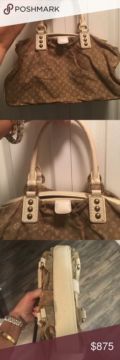 Louis Vuitton trapeze GM linen bag This lovely tote is pleated & gathered ivory on sable. Mini lim monogram LV canvas. A feminine linen bag that is a light brown & cream. Cream leather handles and LV insignia all over  the bag. This bag got me compliments often because it is so special & unique to LV to use linen.100% authentic bought in LV Greece. One spec of what feels like wax that u may b able to remove other than that pic the bag is spotless. Very large bag when open and filled…