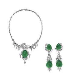 A SET OF JADE AND DIAMOND JEWELRY  from the estate of Elizabeth Taylor  Need a necklace with matching earings to finish my jewerly wish list.