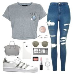 """"""""""" by girlyaddict on Polyvore featuring mode, New Look, Topshop, adidas Originals, Givenchy, Ray-Ban, DKNY, Bling Jewelry, Boohoo et MAC Cosmetics"""