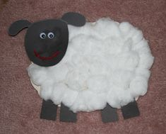 Preschool. Cotton ball sheep.