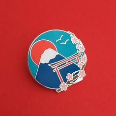 Japan Mount Fuji Cherry Blossom Enamel Lapel Pin Badge