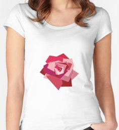 Minimalistic Rose Women's Fitted Scoop T-Shirt Shirt Designs, Minimalist, T Shirts For Women, Rose, Things To Sell, Color, Style, Fashion, Swag