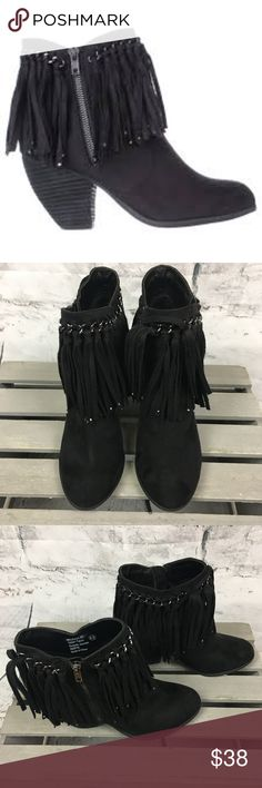 "Not Rated Aadila Ankle Boots Faux Suede Fringe Not Rated Womens Aadila Ankle Boots Faux Suede Fringe  Preloved in excellent condition Go out on the town in these ankle boot and make a statement  Heel 3"" tassel that will move as you move or dance right along with you..  Bundle and save Not Rated Shoes Ankle Boots & Booties"