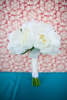white peonie wedding bouquet