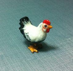 Miniature Ceramic Rooster Hen Chicken Animal by thaicraftvillage