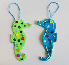 Secret Seahorse author Clare Beaton created this sparkly felt seahorses craft - beautiful and one of a kind!