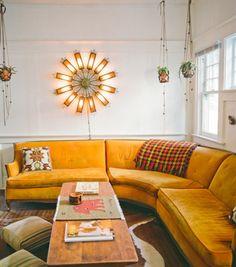 old orange sofa for the makeover shed