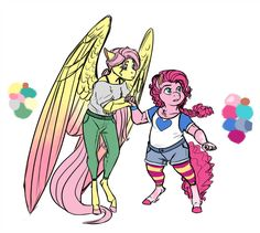 Another doodle for the Infected!AU featuring Pinkie Pie and Fluttershy, and with them the Mane 6 is finally complete!AU: Fluttershy and Pinkie Pie My Little Pony Comic, My Little Pony Drawing, Sweetie Belle, Mlp Fan Art, Mlp Pony, Fluttershy, Discord, My Little Pony Friendship, Fun At Work
