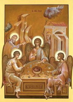 Abraham and Sarah in a Trinity icon Byzantine Icons, Byzantine Art, Angel Sculpture, Sculpture Art, Religious Icons, Religious Art, Prayer Images, Church Icon, Trinidad