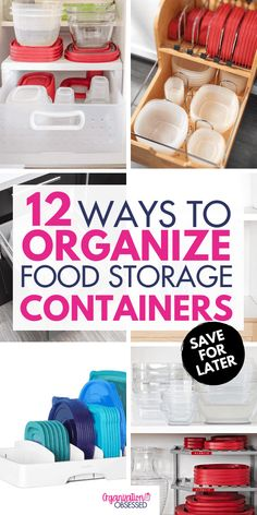 Keep your kitchen organized by Organizing food storage containers with these 12 ideas! These tupperware organizing ideas will help you keep your food storage and left over containers organized quickly and easily! Food Storage Organization, Container Organization, Storage Hacks, Storage Ideas, Kitchen Storage, Bathroom Organization, Creative Storage, Kitchen Pantry, Diy Kitchen