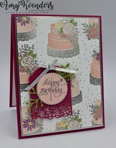 I used the Stampin' Up! Cake Soiree stamp set bundle and Sweet Soiree Specialty DSP to create my card for the Stamp Ink Paper cake walk challenge this week. Here is the banner for the Stamp Ink Pap…