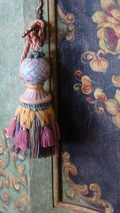 pink and green, gold tassel. This Ivy House ~ETS. Tassel Curtains, Glands, Ivy House, Passementerie, Decorative Trim, Jewel Tones, Cheap Home Decor, Mobiles, Painted Furniture