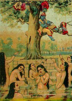 Krishna a false hindu god steals the clothes of the gopi girls while bathing. Painting Gallery, Love Painting, Art Gallery, Krishna Leela, Krishna Art, Hare Krishna, Krishna Avatar, Raja Ravi Varma, Lazuli