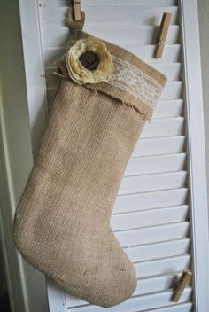 Made my own  burlap vintage Christmas stocking!