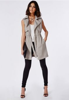 Lightweight Sleeveless Trench Coat Grey - Coats & Jackets - Missguided