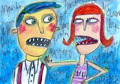 You Make Me Say Bad Words  original outsider by MurphyAdamsStudio, $95.00. SOLD