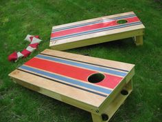 Cornhole, or Corn Toss, is a game in which players take turns pitching small bags filled with corn at a raised platform with a hole in the far end.