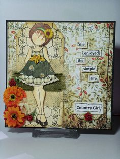 Prima - Julie Nutting stamp - Doll with Ruffle Dress Prima Paper Dolls, Prima Doll Stamps, Atc Cards, Card Tags, Greeting Cards, Scrapbook Paper Crafts, Scrapbook Cards, Scrapbooking, Julie Nutting
