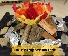 Hobo meal awards around a faux campfire make for a fun Blue and Gold awards ceremony! Watch the video, it is hilarious.
