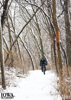 Conquer winter on a fat bike! These heavy-duty bikes sport tires near 4 inches wide, which allows them to go where most road and mountain bikes can't. The oversized tires' extra surface area gives the bike traction on mud, snow, sand and other slippery surfaces, and the inflation can be adjusted to absorb impact. | Iowa DNR