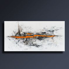 48 abstracto ORIGINAL negro blanco gris naranja pintura en