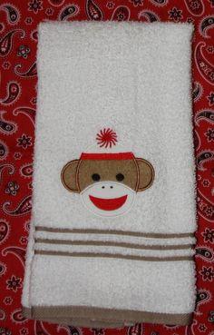 Appliqued sock monkey bath hand towel by KenaKreations, $13.00