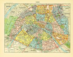 """French antique prints published in Paris by LAROUSSE between 1897 and 1907. Not a copy. Taken from the """"Nouveau Larousse illustré"""". Frame it or use it for cards, scrapbooki... #cartography"""