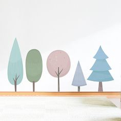 Pastel Tree Wallums Wall Decal Sticker. Add a colorful outdoor theme to your home or office with this Winter Themed Tree Wallums Wall Decal. Dimensions listed are the overall size of all three trees installed as shown in the example image, NOT the size of each tree in the kit. Please note: Colors may vary slightly from the image above. Unlike our solid standard vinyl decals, Wallums printed wall decals are made from ultra premium finely woven fabric that is repositionable. Perfect for…