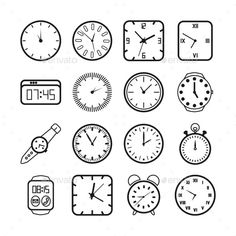 Set of clock doodles isolated on white background. Premium vectorSet of clock doodles isolated on white background. Premium vectorTime and clock symbols by Clock Drawings, Outline Drawings, Disney Drawing Tutorial, Bullet Journal And Diary, Doodle Paint, Clock Tattoo Design, Clock Icon, Time Icon, Baby Icon