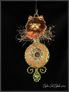 Victorian Christmas Ornament  Kitten with by SilverOwlStudio, $95.00