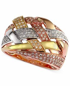 Trio by EFFY Diamond Crossover Ring (1/2 ct. t.w.) in Tri-Tone 14k Gold - Rings - Jewelry & Watches - Macy's