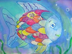"I love ""The Rainbow Fish"".  We did this book every year.  My first graders did this project and LOVED it.  I found some silver holographic wrapping paper that looked just like the book.  We used that for our shimmery scales."